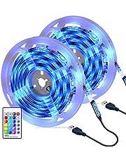 Ruban LED [2 x 3M], OMERIL Bande LED 5050 RGB Etanche avec Télécommande IR, Bande Lumineuse 16 Couleurs et 4 Modes, Luminosité/Vitesse Réglables pour Maison, Cuisine, Mariage, Fête, etc