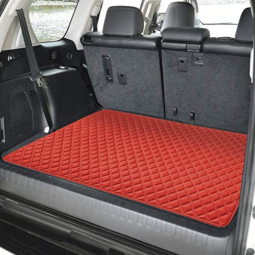 """FH Group F16501 Deluxe Heavy-Duty Faux Leather Multi-Purpose Cargo Liner, Diamond, 32"""" : 40"""" x 32"""", Red Color- Fit Most Car, Truck, SUV, or Van - Mat Cargo Red"""