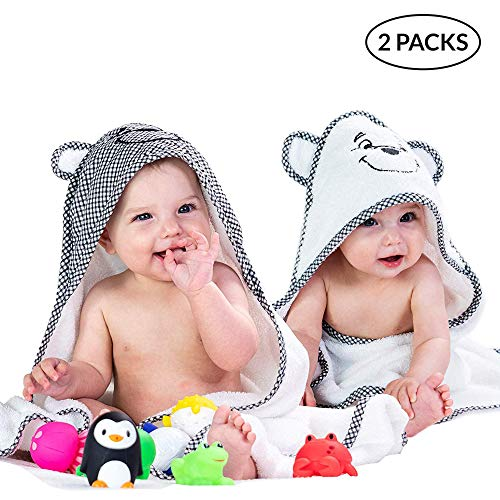 2 Pack Hooded Baby Towels for Boys & Girls