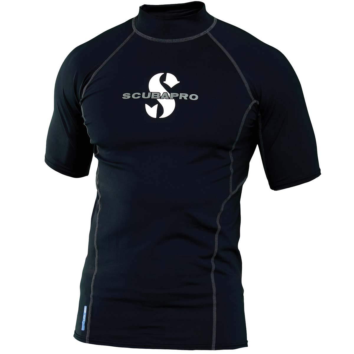 ScubaPro Men's UPF 80 T-Flex Short Sleeve Rash Guard, Black, Size: Small