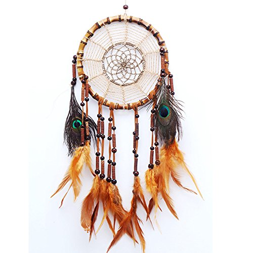 "LanMa Handmade Dream Catcher (25.6"" Long) Indian Peacock Feathers Ornaments Home Wall Hanging Decoration"