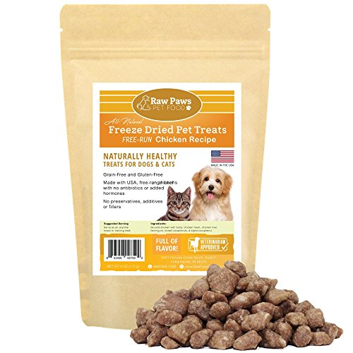 Raw Paws Pet Chicken Freeze Dried Cat Treats & Dog Treats, 4-oz - Made in USA Raw Freeze Dried Dog Treats - Free-Run, Grain, Gluten, Wheat & Antibiotic-Free Chicken Cat Treats - All Natural Pet Snacks