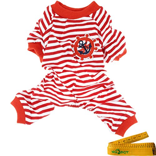 Comfy Soft Elastic Navy Striped Cotton Dog Pet Pajamas Jumpsuit Apparel Clothes (XXL, Red & White)