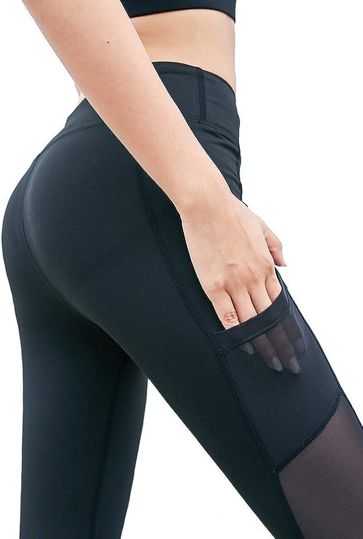 Uni-Wert Damen Leggings Tech Mesh Yoga Fitness Hose Lange Streetwear Sporthose mit Netzeins/ätzen
