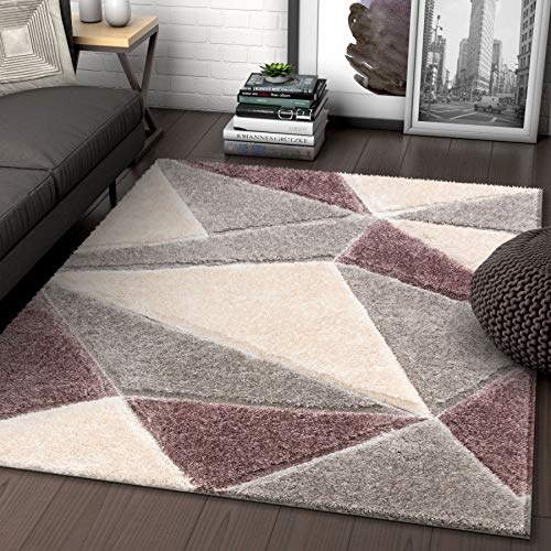 Well Woven Walker Purple Triangle Boxes Thick Soft Plush 3D Textured Shag Area Rug 8x10 (7'10