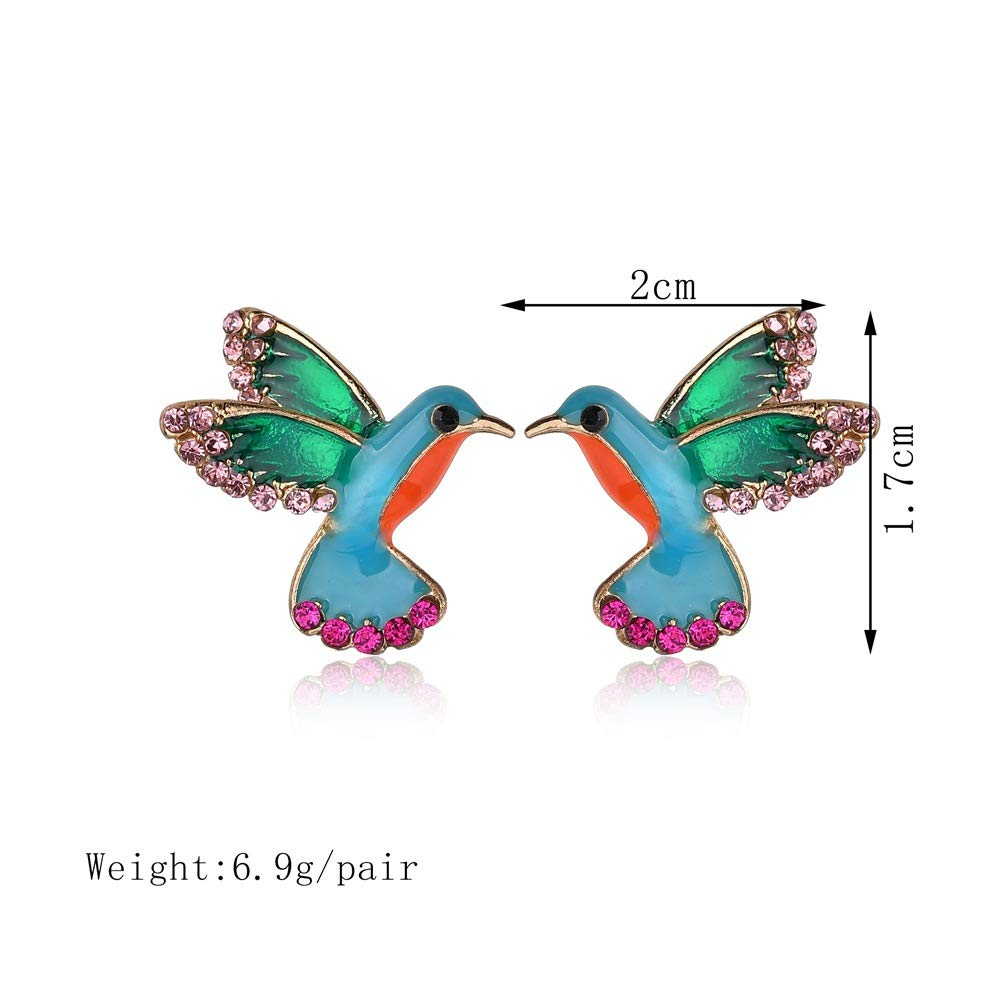 Enamel Animal Rhinestone Bird Stud Earrings for Women Jewelry