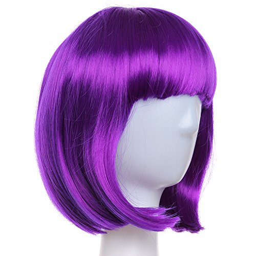 Crazy Genie Women's Sexy Short BOB Hair Wig with Straight Bangs Cosplay Dance Party Full Wigs Synthetic Fiber (Purple)