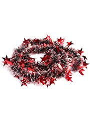 Andiker Thick Christmas Tinsel Garland, Chunky Shinny Metallic Xmas Tree Decorations, Tinsel Wire Hanging Ornament for Party Home Decor 20 FT (Red)