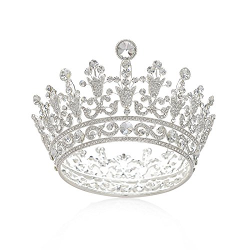 SWEETV Luxury Full Round Crystal Queen Crown Rhinestone Bridal Tiara Pageant Prom Wedding Hair Jewelry