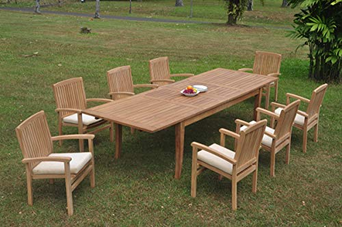 (8 Seats 9 Pcs Grade-A Teak Wood Dining Set: 122