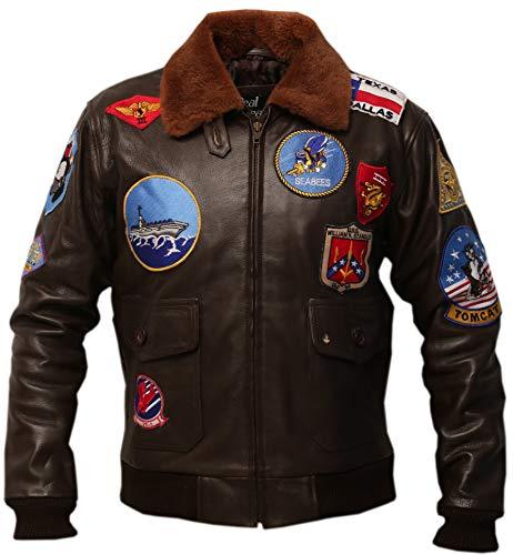 Top Gun G1 Bomber Tom Cruise Pete Maverick Cowhide Leather Jacket (XL) Brown