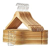 Casafield - 20 Wooden Suit Hangers - Premium Lotus Wood with Notches & Chrome Swivel Hook for Dress Clothes, Coats, Jackets, Pants, Shirts, Skirts