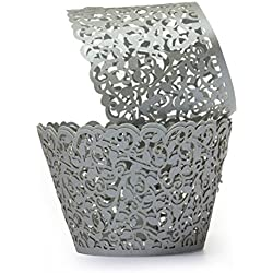 Saitec ® Pack of 60 Filigree Little Vine Lace Laser Cut Cupcake Wrapper Liner Baking Cup Muffin Case Trays Wedding Birthday Party Decoration (Gray)