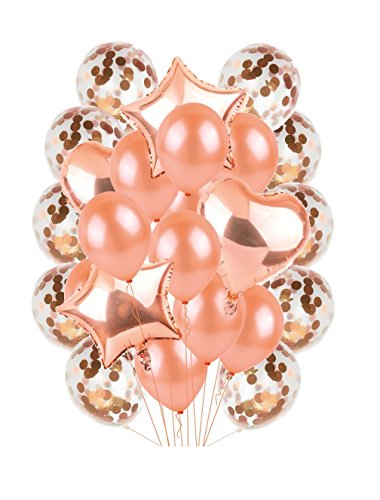 My Party Fun Rose Gold Balloon Set for Wedding, Bridal Shower, Baby Shower, Anniversary, Quinceanera and Birthdays! 10 Confetti Balloons 12
