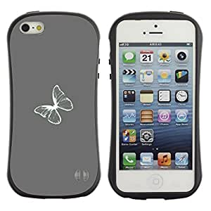 """Pulsar iFace Series Tpu silicona Carcasa Funda Case para Apple iPhone 5 / iPhone 5S , Gris Gris Minimalista Blanca"""""""