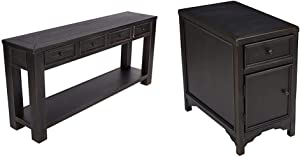 Signature Design by Ashley - Gavelston Console Table, Rubbed Black Finish & Gavelston chairside End Table, Rubbed Black Finish