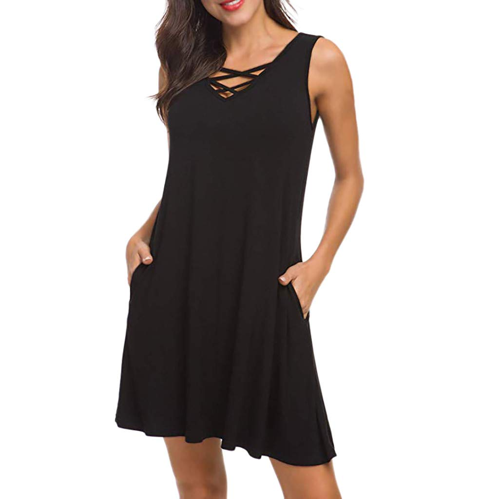 Yxiudeyyr Womens Casual Sleeveless V Neck Lace Up Criss Cross Swing T-Shirt Dresses with Pockets Black by Yxiudeyyr