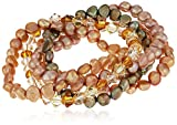 5 Piece Desert Sunrise Dyed Baroque Freshwater Cultured Pearl and Crystals by Swarovski Bicone Bead Stretch Bracelet