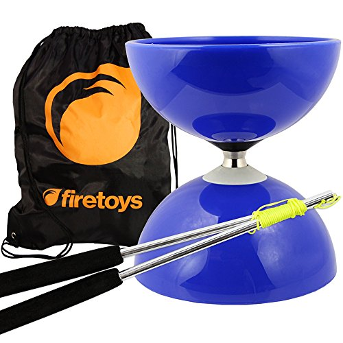 Blue Big Top - Jumbo Bearing Diabolos Set, Ali Dream Metal Diablo Sticks, Diabolo string & Bag! by Juggle Dream