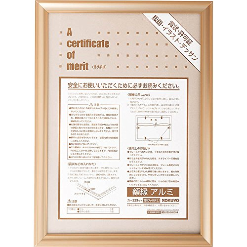 Kokuyo S & T aluminum frame Certificate A4 (seven scale) Size Gold (japan import)