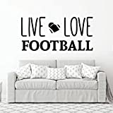 Live Love Football Wall Decal - Vinyl Art Sticker for Bedroom, Home Decor, Playroom or Game Room Decoration
