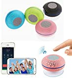 New Mini Water Resistant Wireless Shower Speaker, BTS-06 HD Water Proof Bluetooth 3.0 Speaker, Handsfree Portable Speakerphone with Built-in Mic With LED Colorful Lights (Pink)