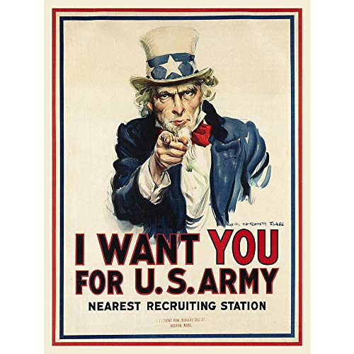 Wee Blue Coo Propaganda War WWI USA Uncle Sam Want You Army Iconic Unframed Wall Art Print Poster Home Decor Premium