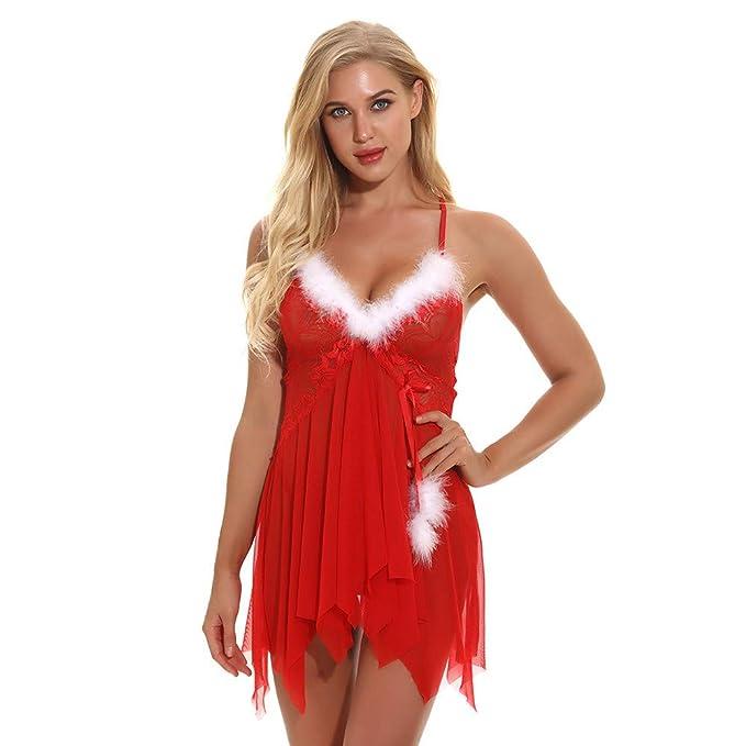 Navidad de BaZhaHei, Rojo Ropa Interior Atractiva de Las Mujeres de Navidad Traje de Malla