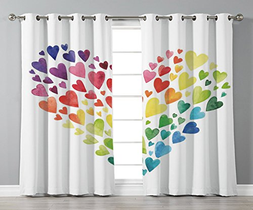 Stylish Window Curtains,Rainbow,Multicolored Hearts forming a Giant Colorful Rainbow Inspired Heart Love Artwork Decorative,Multicolor,2 Panel Set Window Drapes,for Living Room Bedroom Kitchen Cafe