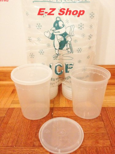 25 Sets of Extreme Freezeable 32 Oz Deli Food Containers w/ Lids (Soup Cup)