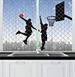 Lunarable Boy's Room Kitchen Curtains, Basketball in the Street Theme Two Players on Grungy Damaged Backdrop, Window Drapes 2 Panel Set for Kitchen Cafe, 55 W X 39 L Inches, Pale Blue Grey Black