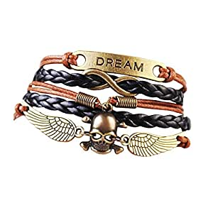 Magic-clover Handmade Jewellery Dream Angel Wings skull designs Multilayer Knit Leather Rope Chain Bracelet Party Decoration in Brown