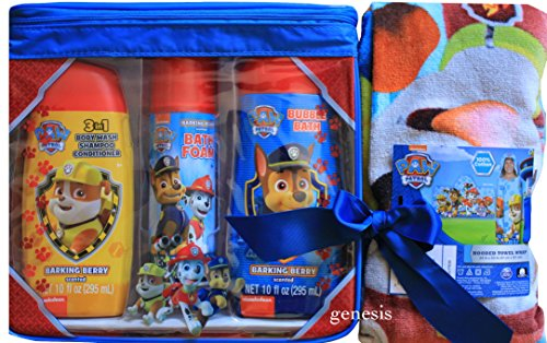 Paw Patrol Bath Gift Set 3 In 1 Body Wash, Shampoo, Conditioner, Bath Foam, Bubble Bath & Paw Patrol Hooded