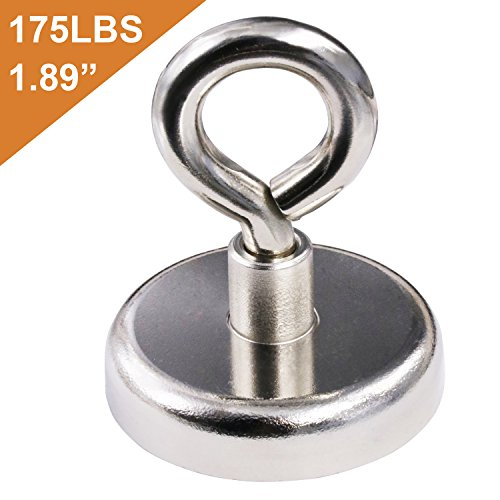 DIYMAG Super Strong Neodymium Fishing Magnets, 175 lbs(80 KG) Pulling Force Rare Earth Magnet with Eyebolt Diameter 1.89 inch(48 mm) for Retrieving in River and Magnetic Fishing