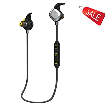 Auriculares inalámbricos inalámbricos de música a prueba de agua en la oreja iPhone ejercicio de la aptitud Bluetooth 4.1 Negro Verde (Color : Black) : ...