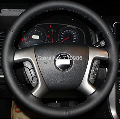 Loncky Genuine Leather Steering Wheel Cover for Chevrolet 2008-2013 Silverado 1500 / Silverado 2500 3500/ 2007-2014 Tahoe/2007-2014 Suburban 1500 /2007-2013 Avalanche 1500 /2009-2015 Traverse /Express
