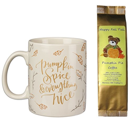 Pumpkin Spice Everything Nice Mug with Happy Fall Y'all Pumpkin Pie Coffee Gift Set Bundle (2 Items) (Pumpkin Gift)