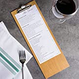 6-Pack 12 1/2'' x 4 1/2'' Natural Wood Menu Holder with Clip - Sleek, Contemporary Appearance by HEDY4LESS