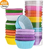 #4: TecUnite 400 Pieces 1.38 Inch Rainbow Color Muffin Cups Greaseproof Cupcake Liners Baking Paper Cup for Candies Cupcakes Muffins Decoration