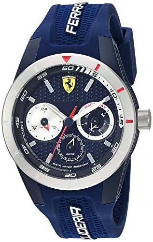 Ferrari Men's 'RedRevT' Quartz Stainless Steel and Rubber Casual Watch, Color:Blue (Model: 830436)