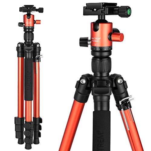 MACTREM Tripod DSLR SLR Tripod, 62.5″ Light-Weight Aluminum Alloy Camera Tripod Phone Tripod with Phone Holder, 360 Degree Ball Head, Detachable Monopod, 33lbs Load with Carry Bag, Orange