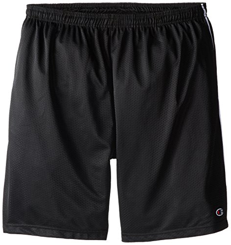 Champion Men's Big-Tall Mesh Shorts with Piping, Black, 4X/Tall