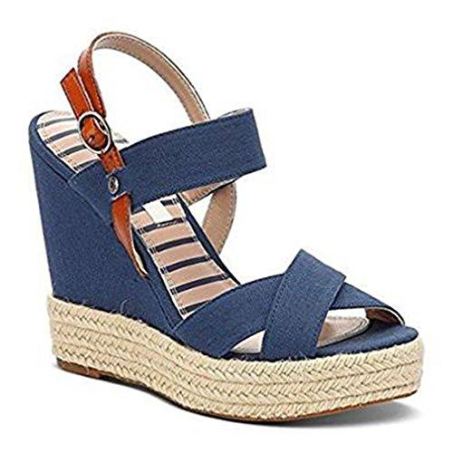 Plain Sandales Blu Sandales Walker Walker Bleues xYHtS7