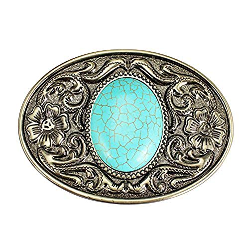 Engraved Western Buckles Belt - Turquoise Belt Buckle, Western Cowboy Cowgirl Engraved Oval Belt Buckles