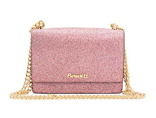 Bewaltz Stella Street Crossbody - Glitter Confetti, Glitter and Iridescent Handbag, Chain Strap Bag, Medium-Sized Handbag, Chic Glam Modern Purse, Sparkly Metallic Bag