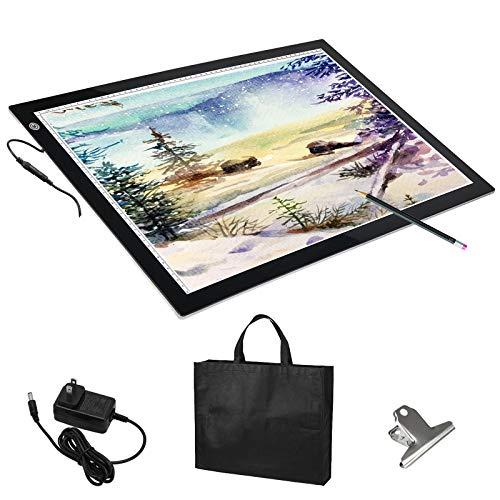 - Voilamart A2 LED Light Box Tracer, 12V Ultra Bright 3-Level Dimmable Brightness, Ultra-thin LED Tracing Art Craft Light Pad Light Board with Carry Case, for Artists Drawing Tattoo Sketching Animation