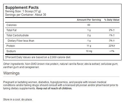Vitacost Vegetarian Brown Rice Protein Vanilla Flavor -- 1.2 lbs