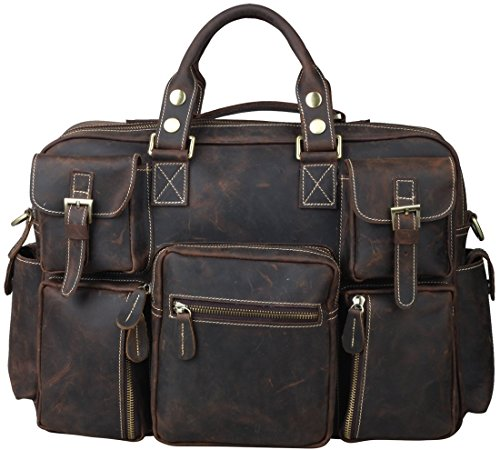 "Iswee Crazy Horse Cowhide Leather Multi-Pocket Tote Briefcase Messenger Bags, Fit 15.6"" in Laptop (Deep Brown) by Iswee"
