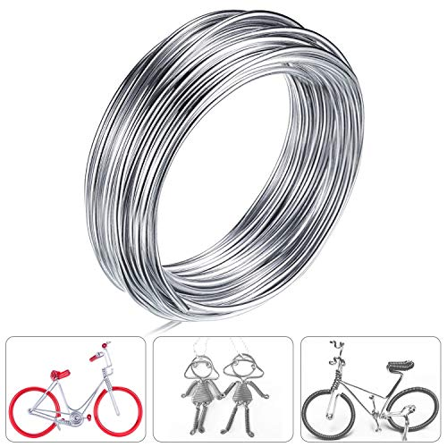 Aluminum Wire, Anezus 3mm 50FT Bendable Metal Wire Sculpting Aluminum Wire for Jewelry Making Crafts Beading Floral (Silver, 3 mm Thickness)