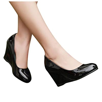 YiYLunneoWomen High Heel Thick Platform Pumps Dress Shoes Evening Prom Wedding Wedges Shoes Leisure Single Shoes: Clothing [5Bkhe1800275]